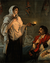 Florence Nightingale with a lamp at her patient's bedside by Henrietta Rae.